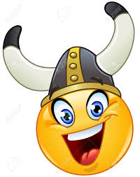 emoticon with a viking helmet royalty free cliparts vectors and