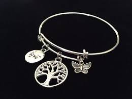 Meaningful Butterfly - tree of butterfly and charm on a silver expandable wire