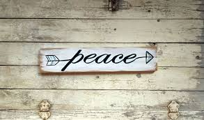 peace arrow wall art decor hand painted wood word sign for home