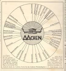 Aachen Germany Map by Jf Ptak Science Books Unusual Classic Design Carto Graph Of