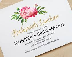 wedding luncheon invitations bridesmaids luncheon etsy