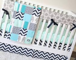 Green Elephant Crib Bedding Elephant Nursery Bedding Set Navy Blue Orange Gray Crib