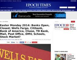 bank of america fargo citibank easter monday 2014 open