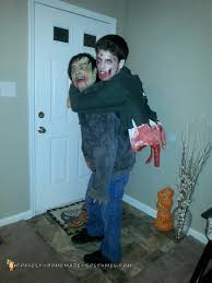 hilarious homemade halloween costume ideas torn gut hanging zombie illusion costume homemade costumes
