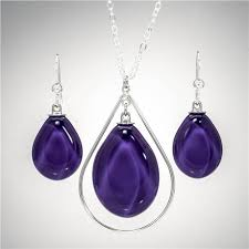 purple drop earrings glass tear drop earrings royal purple