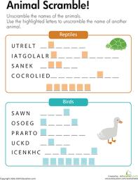 animal scramble worksheet education com