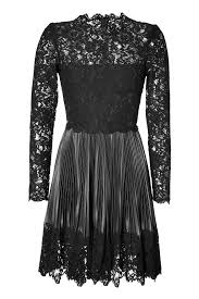 Leather And Lace Clothing Valentino Leather Pleated Dress With Lace Top In Black Lyst