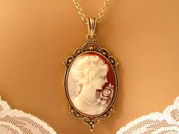 victorian cameo necklace images Peach cameo victorian woman peach cameo necklace antiqued jpg
