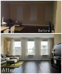 Hanging Curtains High And Wide Designs Bright Living Room Before And After It S Amazing How Hanging