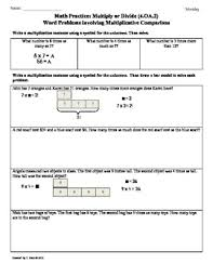 Oa Worksheets 4 Oa 2 Word Problems Multiplicative Comparison 4th Grade Common