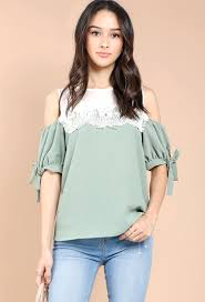 shoulder blouse crochet trimmed open shoulder blouse shop blouse shirts at