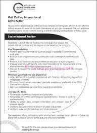 senior internal auditor for finance manager resume and key