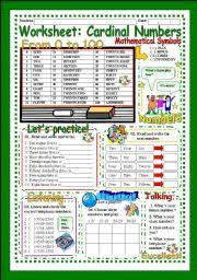 worksheet cardinal numbers from 1 to 100 exercise bingo oral