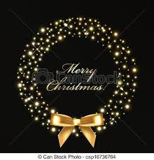 clip art vector of christmas wreath from gold lights vector