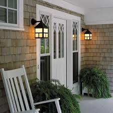cottage exterior wall light provides front entry porch lighting