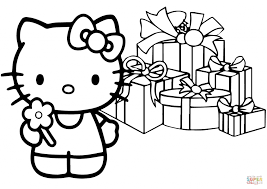 Christmas Hello Kitty Happy Christmas Coloring Page Pages Hello Tree Coloring Page