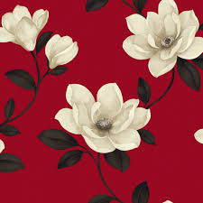 Magnolia Wallpaper Sophie Conran Magnolia Flower Cream U0026 Red Wallpaper Departments