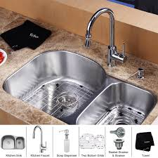 Kitchen Faucet With Soap Dispenser Kraus Kbu23 Kpf1622 Ksd30 32 Undermount Double Bowl Stainless