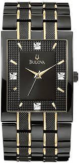 black bracelet mens watches images Fingerhut bulova men 39 s black diamond dress watch