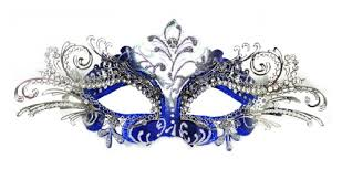 blue masquerade masks venetian blue mask w silver metal laser cut and