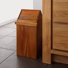 Modern Bathroom Wastebasket Teak Waste Basket With Swing Top Lid Teak Bathroom