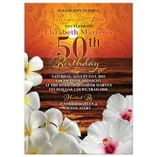 Avery Invitation Cards Sunset Beach Hawaiian Luau 50th Birthday Invitation