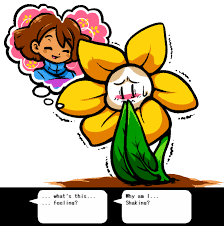 describe it flowey does have feelings but just dosen t know the words to