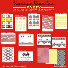 race car birthday party printable collection red yellow black