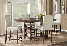 cherry 5 pc counter height dining room with ivory barstools