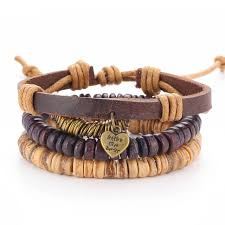 adjustable braided leather bracelet images The new european wooden bead leather rope bracelet adjustable wax jpg