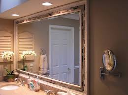 framing a bathroom mirror ideas double l shaped brown finish