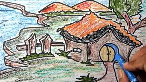 colourful scenery for kids with wax colour pencil drawing step