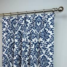 Blue And White Floral Curtains Pair Of Pinch Pleat Curtains In Navy Blue And White By Zeldabelle