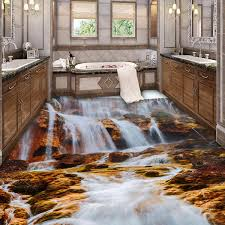 aliexpress com buy kitchen floor wallpaper 3d nature waterfall