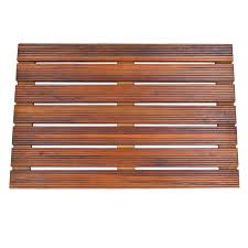 solid teak wood shower spa bath mat for bathroom or outdoor shower