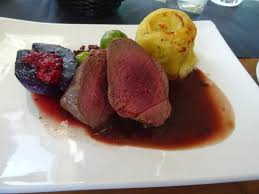cuisine mauve steak de renne poire mauve et choux de bruxelles picture of