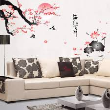 popular chinese wall decorations buy cheap chinese wall removable flower wall sticker pink wall decor chinese style mural home decor decorative vinyl decals flower