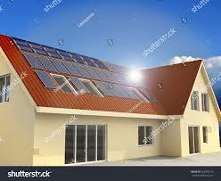 house lens solar power house 3d concept solar stock illustration 528945775