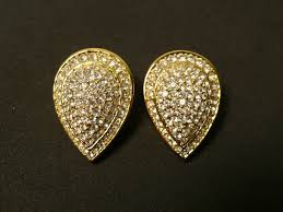 s clip on earrings christian gold tone pave teardrop clip earrings bis