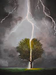 lightning strikes painting by colin lederman
