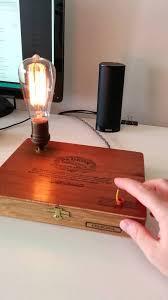 Desk Lamp Light Bulbs Touch Activated Repurposed Cigar Box Edison Light Bulb Desk Lamp