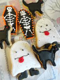 pink little cake silly ghost black cat and coffin halloween cookies
