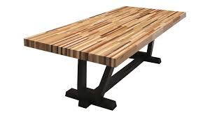 rectangle butcher block dining table with black base decofurnish