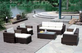 outdoor wicker patio furniture with dark brown color ideas home
