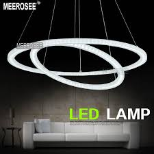 Led Lighting Fixture Manufacturers Modern Two Rings Led Pendant Light Arcylic Led Ring Suspension