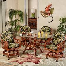 dining table with caster chairs leikela wailea coast tropical dining furniture set