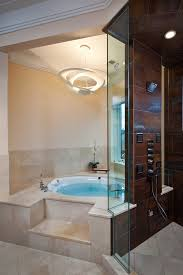 Stone Floor Bathroom - round soaking tub bathroom contemporary with bathtub beige stone