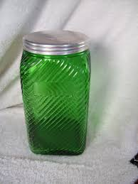vintage forest green depression glass hoosier canister jar owens
