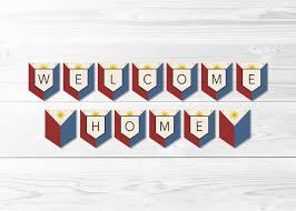 Philippines Flag Welcome Home Philippines Flag Banner Filipino Flag Banner