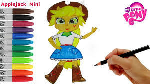 mini coloring book my little pony how to draw applejack equestria girls mini